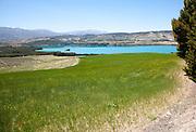 Los Bermejales Reservoir lake in Arenas del Rey, Granada province, Andalusia, Spain