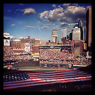 iPhone Instagram of the national anthem before the 2014 MLB All Star Game at Target Field in Minneapolis, Minnesota on July 15, 2014