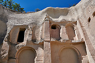 Pictures & images of the extreior of Aynali Kilise (Church) a cave church complex, iconoclastic period (725-842), near Goreme, Cappadocia, Nevsehir, Turkey .<br /> <br /> If you prefer to buy from our ALAMY PHOTO LIBRARY  Collection visit : https://www.alamy.com/portfolio/paul-williams-funkystock/cappadociaturkey.html (TIP refine search - type which part of Cappadocia into the LOWER search box)<br /> <br /> Visit our TURKEY PHOTO COLLECTIONS for more photos to download or buy as wall art prints https://funkystock.photoshelter.com/gallery-collection/3f-Pictures-of-Turkey-Turkey-Photos-Images-Fotos/C0000U.hJWkZxAbg