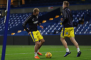 AFC Wimbledon midfielder Mitchell (Mitch) Pinnock (11) and AFC Wimbledon striker Joe Pigott (39) warming up during the EFL Trophy match between U21 Chelsea and AFC Wimbledon at Stamford Bridge, London, England on 4 December 2018.