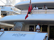"""**EXCLUSIVE**.Sean P. Diddy Combs on his Yacht """"MORE"""" at Gustavia Port.St. Barth, Caribbean.Monday, December, 29, 2003.Photo By Celebrityvibe.com/Photovibe.com..."""