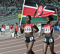 GEPA-2708074161 - OSAKA,JAPAN,27.AUG.07 - LEICHTATHLETIK, SPORT DIVERS - IAAF, Leichtathletik Weltmeisterschaft 2007, 3000m Huerden, Damen. Bild zeigt Ruth Bisibori Nyangau (KEN) und Eunice Jepkorir (KEN). <br /> <br /> Norway only