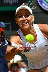 © Licensed to London News Pictures. 07/07/2016.  ELENA VESNINA loses her semi-finals single ladies match against SERENA WILLIAMS on the eleventh day of the WIMBLEDON Lawn Tennis Championships. London, UK. Photo credit: Ray Tang/LNP