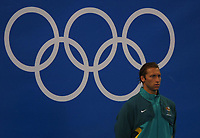 Ian Thorpe (Aus) on the medals podium for the 200m Freesyle.  Swimming, Athens Olympics, 16/08/2004. Credit: Colorsport / Andrew Cowie DIGITAL FILE ONLY