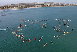 October 13, 2016 - Dana Point, California, USA - Friends and family of Robert Nealy take part in a paddle out at Dohney State Beach in Dana Point, California, October 13, 2016...Nearly is credited with inventing the Velco surf leach in 1973...Nealy lost a long battle with lymphoma on September 1, 2016...(Photo by Jeff Gritchen, Orange County Register/SCNG) (Credit Image: © Jeff Gritchen/The Orange County Register via ZUMA Wire)