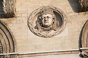 Queen Elizabeth 1 Royal roundel portraits on Great Eastern hotel building Harwich, Essex, England