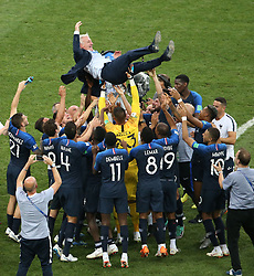 MOSCOW, July 15, 2018  Players of France throw their head coach Didier Deschamps (top) into the air after the 2018 FIFA World Cup final match between France and Croatia in Moscow, Russia, July 15, 2018. France defeated Croatia 4-2 and claimed the title. (Credit Image: © Li Ming/Xinhua via ZUMA Wire)
