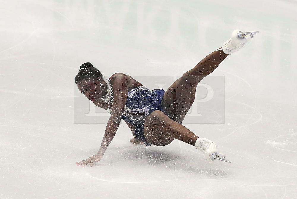 © Licensed to London News Pictures. 27/01/2017. Ostrava, CZ. Olympic athlete Mae Berenice MEITE, from France, falls performing her Ladies Free Skating routine during the ISU European Figure Skating Championships in the Ostrava Arena in Ostrava, Czech Republic, on Friday January 27, 2017. Photo credit: Isabel Infantes/LNP