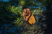 Catching fish that live under the water hyacinths with cane fish trap<br /> Mising Tribe (Mishing or Miri Tribe)<br /> Majuli Island, Brahmaputra River<br /> Largest river island in India<br /> Assam,  ne India