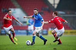 St Johnstone's James McFadden and Ross County's Scott Boyd.<br /> half time : St Johnstone 1 v 0 Ross County, Scottish Premiership 22/11/2014 at St Johnstone's home ground, McDiarmid Park.