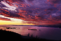 San Juan Islands, Orcas Island Sunset from Mt. Constitution, WA