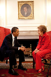 President Barack Obama meets with former First Lady Nancy Reagan prior to a bill signing ceremony in the White House for the Ronald Reagan Centennial Commission Act, June 2, 2009. (Official White House Photo by Pete Souza), This official White House photograph is being made available for publication by news organizations and, or for personal use printing by the subject(s) of the photograph. The photograph may not be manipulated in any way or used in materials, advertisements, products, or promotions that in any way suggest approval or endorsement of the President, the First Family, or the White House. EXPA Pictures © 2016, PhotoCredit: EXPA/ Photoshot/ Pete Souza<br /> <br /> *****ATTENTION - for AUT, SLO, CRO, SRB, BIH, MAZ, SUI only*****