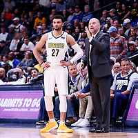 03 April 2018: Denver Nuggets guard Jamal Murray (27) is seen next to Denver Nuggets head coach Michael Malone during the Denver Nuggets 107-104 victory over the Indiana Pacers, at the Pepsi Center, Denver, Colorado, USA.