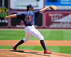 IronPig Jesse Biddle throws the ball. Philadelphia Phillies 2nd baseman Chase Utley rehabs with the Lehigh Valley IronPigs in a game against the Norfolk Tides August 2nd, 2015, at Coca-Cola Park in Allentown.