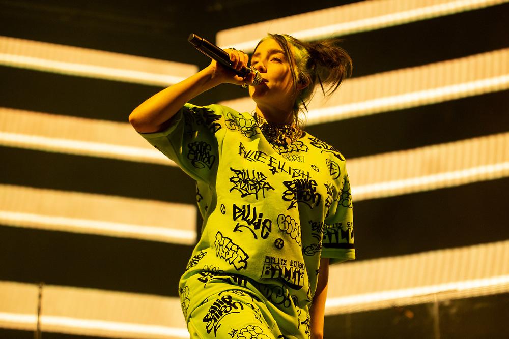 Billie Eilish performing at Summerfest in Milwaukee, WI on July 6, 2019.