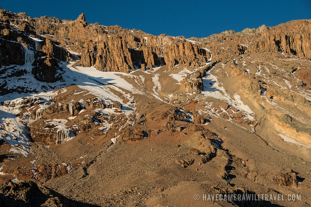 The rugged and steep Western Breach as seen from Arrow Glacier Camp (15,970 feet) on Mt Kilimanjaro's Lemosho Route.
