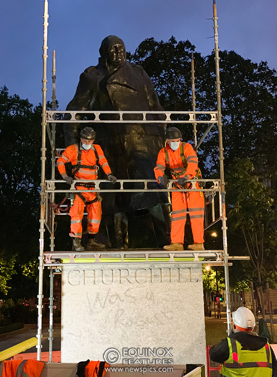 London, United Kingdom - 11 June 2020<br /> Winston Churchill statue being covered in protective scaffolding and sheet metal following Black Lives Matter protests, Parliament Square, London, England, UK.<br /> (photo by: EQUINOXFEATURES.COM)<br /> Picture Data:<br /> Photographer: Equinox Features<br /> Copyright: ©2020 Equinox Licensing Ltd. +443700 780000<br /> Contact: Equinox Features<br /> Date Taken: 20200611<br /> Time Taken: 215249<br /> www.newspics.com