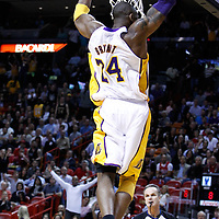 10 March 2011: Los Angeles Lakers shooting guard Kobe Bryant (24) dunks the ball during the Miami Heat 94-88 victory over the Los Angeles Lakers at the AmericanAirlines Arena, Miami, Florida, USA.