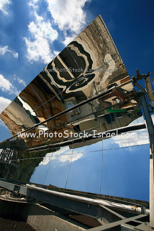 Israel, Bet Shemesh, The factory yard reflects on the mirrors of Solel's Solel 6 parabolic trough solar collector. .