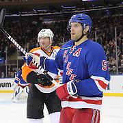 Daniel Girardi, New York Rangers,  during the New York Rangers Vs Philadelphia Flyers, NHL regular season game at Madison Square Garden, New York, USA. 26th March 2014. Photo Tim Clayton