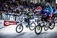 #21 (REYNOLDS Lauren) AUS and #971 (VALENTINO Manon) FRA at Round 2 of the 2019 UCI BMX Supercross World Cup in Manchester, Great Britain