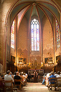 Singer in a classical concert in the medieval church, 19th July 2015, Lagrasse France.