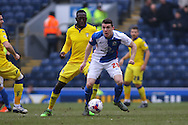 Darragh Lenihan of Blackburn Rovers looks to make a break. Skybet football league Championship match, Blackburn Rovers v Leeds United at Ewood Park in Blackburn, Lancs on Saturday 12th March 2016.<br /> pic by Chris Stading, Andrew Orchard sports photography.