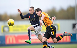 Falkirk's John Baird and Alloa Athletic's Kyle McCausland. <br /> Falkirk 5 v 0 Alloa Athletic, Scottish Championship game played at The Falkirk Stadium.