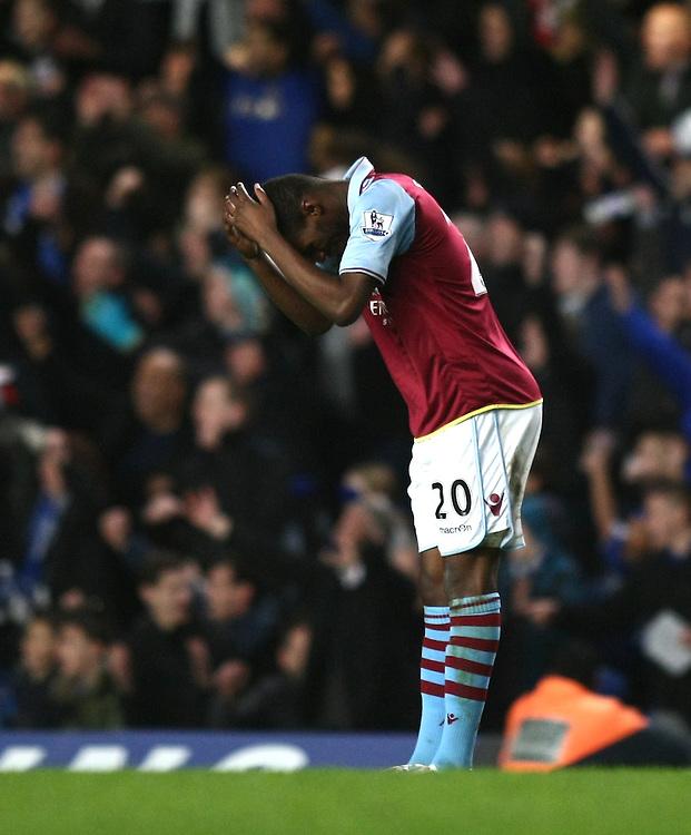 Aston Villa's Christian Benteke looks dejected ..Football - Barclays Premiership - Chelsea v Aston Villa - Sunday 23rd December 2012 - Stamford Bridge - London..