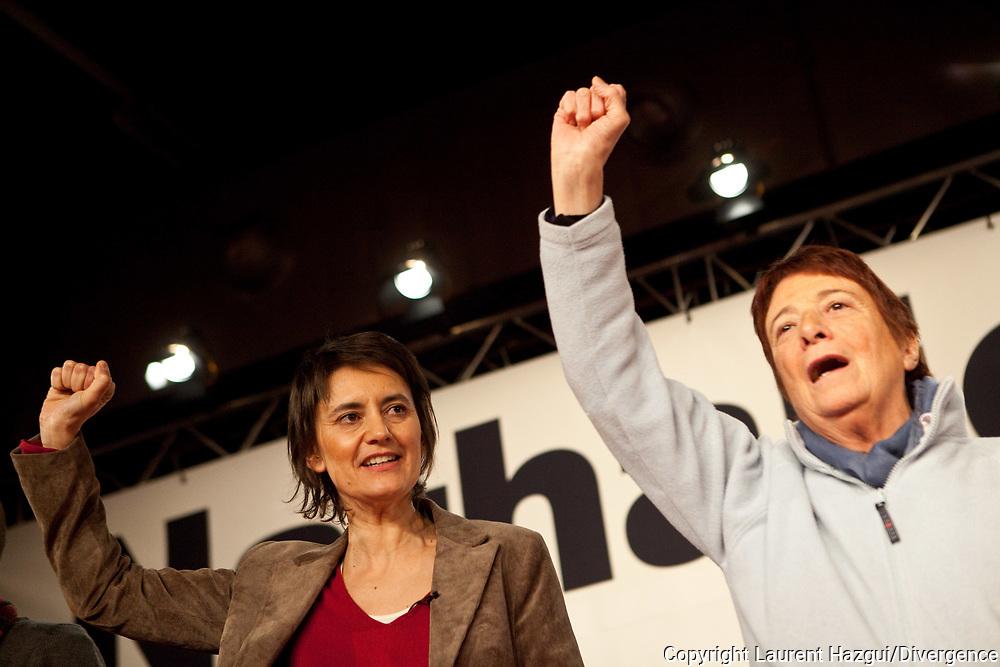 03022012. Montreuil. Campagne présidentielle 2012. NATHALIE ARTHAUD en meeting à Montreuil.