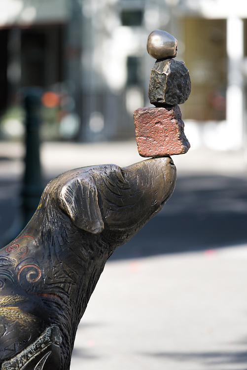 """""""Thoughts Discovered,"""" a sculpture by Brad Rude, in downtown Walla Walla, Washington."""