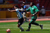"""Sergio """"Kun"""" Aguero Argentina and Chibuzor Okonkwo of Nigeria, during the Olympic Games final. Argentina beats Nigeria 1-0 and won the gold medal <br /> National Indoor - Bird Nest - Football - Calcio<br /> Pechino - Beijing 23/8/2008 Olimpiadi 2008 Olympic Games<br /> Foto Andrea Staccioli Insidefoto"""