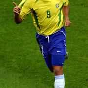 Brazil's Ronaldo celebrates scoring the winning goal
