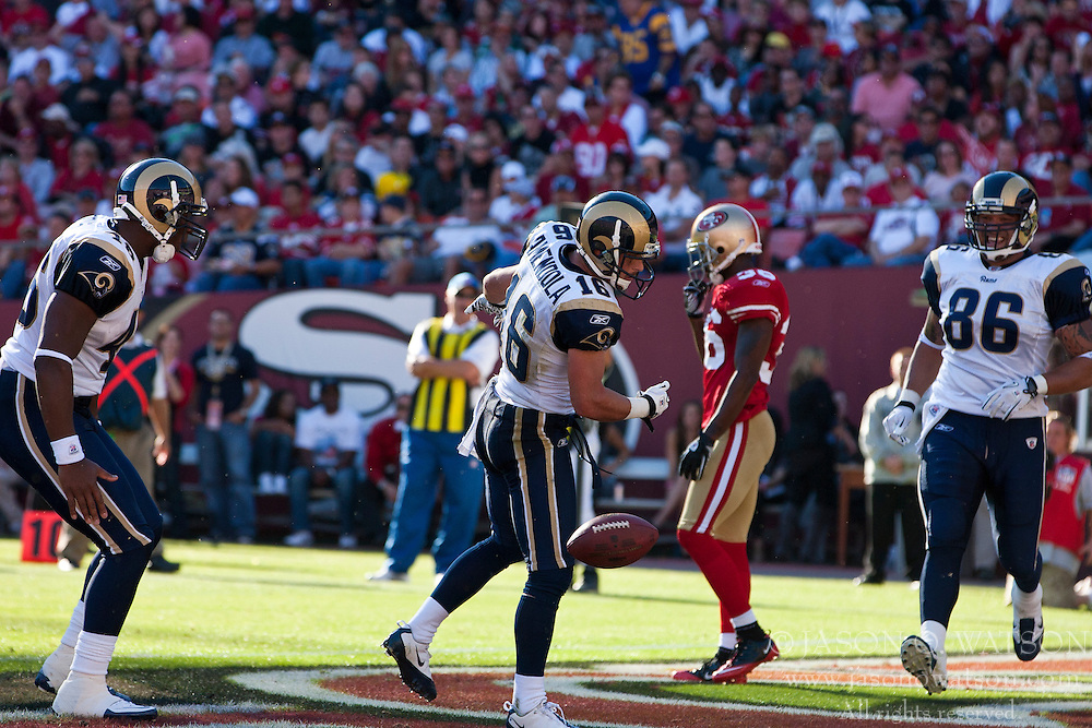 November 14, 2010; San Francisco, CA, USA;  St. Louis Rams wide receiver Danny Amendola (16) celebrates after scoring a touchdown against the San Francisco 49ers during the second quarter at Candlestick Park. San Francisco defeated St. Louis 23-20 in overtime.