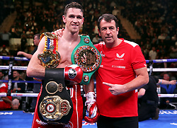 Callum Smith (left) celebrates with trainer Joe Gallagher after winning the WBA 'Super' World, WBC Diamond, Ring Magazine Super-Middleweight title match at Madison Square Garden, New York.