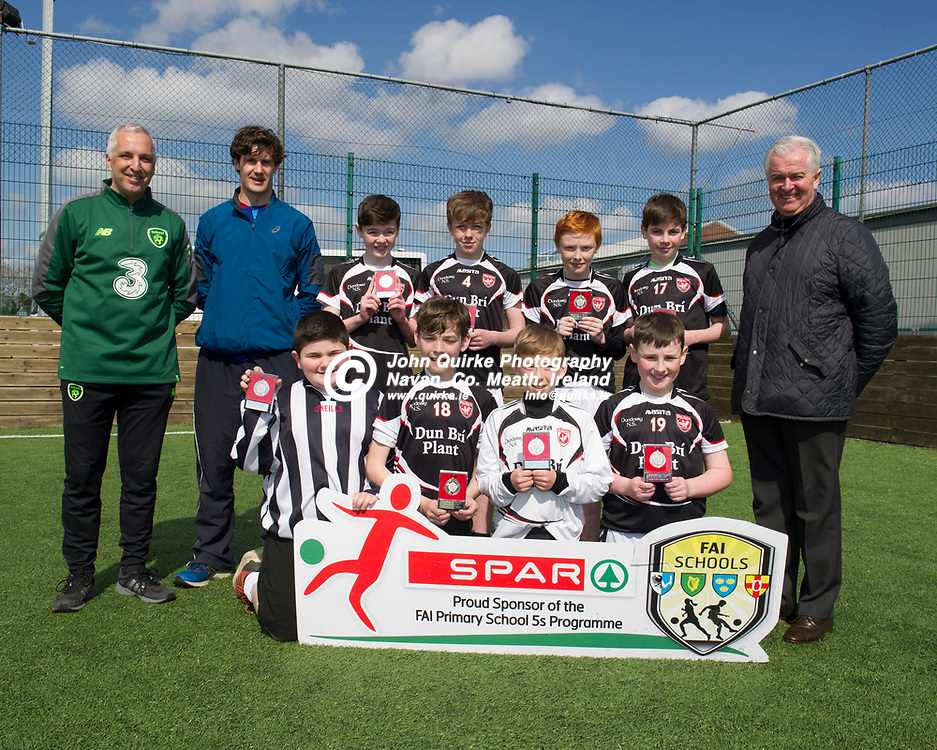10-04-19. SPAR & FAI Primary School 5's Meath County Final at the MDL Grounds, Navan.<br /> Scoil Seosanh Naotha Dunderry Runners-Up in the SPAR FAI Primary Schools 5's Meath County Boys Div. A Final, pictured in MDL Grounds, Navan, Meath alongside SPAR representative, FAI Co-Ordinator, Brian Donnelly, teacher David O'Connor (Left) and Tony St. Leger (Right), BWG Foods.<br /> The SPAR FAI Primary Schools 5s Programme is the largest primary schools' competition in the country with 36,616 students from 1,691 schools participating in a fun, safe and inclusive environment. <br /> Photo: John Quirke / www.quirke.ie<br /> ©John Quirke Photography, Unit 17, Blackcastle Shopping Cte. Navan. Co. Meath. 046-9079044 / 087-2579454.
