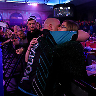 Rob Cross's family during the PDC World Darts Championship Final at Alexandra Palace, London, United Kingdom on 1 January 2018. Photo by Chris Sargeant.