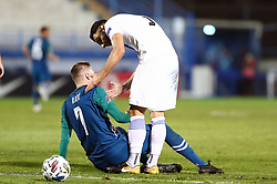 Josip Ilicic of Slovenia and Giorgos Tzavellas of Greece during football match between National teams of Greece and Slovenia in Final tournament of Group Stage of UEFA Nations League 2020, on November 18, 2020 in Georgios Kamaras Stadium, Athens, Greece. Photo by MATTHAIOS YORGOS / INTIME SPORTS / SPORTIDA