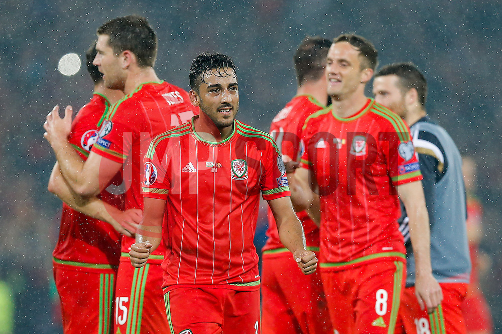 Neil Taylor of Wales (Swansea City) celebrates after Wales win the match 1-0 to top their UEFA2016 Qualifying Group - Photo mandatory by-line: Rogan Thomson/JMP - 07966 386802 - 12/06/2015 - SPORT - FOOTBALL - Cardiff, Wales - Cardiff City Stadium - Wales v Belgium - EURO 2016 Qualifier.