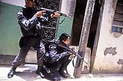 "The elite police team ""BOPE"" in drug raid in Vigigal favela, Rio de Janeiro, Brazil"