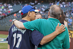 July 24, 2017 - Seattle, Washington, United States - Seattle, Washington: State Senator and mayoral candidate BOB HASEGAWA at the Seattle Mariners vs. Boston Red Sox game at Safeco Field. The senator appeared with SHEILA BURRUS, Executive Director of the Filipino Community of Seattle, to throw the first pitch during Filipino Heritage Night. Hasegawa, a longtime labor and social justice activist from the Beacon Hill neighborhood, has represented the 11th Legislative District since January 2013. (Credit Image: © Paul Gordon via ZUMA Wire)