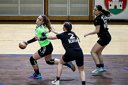 Anja Kolobaric of RK Olimpija and Gala Klicic during handball match between RK Olimpija and RK Krim Mercator in Round #13 of National Youth League in Season 2020-21, on May 23, 2021 in Hala Tivoli, Ljubljana, Slovenia. Photo by Matic Klansek Velej / Sportida
