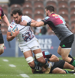 Steven Luatua of Bristol Bears is tackled by Scott Baldwin of Harlequins - Mandatory by-line: Matt Impey/JMP - 26/12/2020 - RUGBY - Twickenham Stoop - London, England - Harlequins v Bristol Bears - Gallagher Premiership Rugby