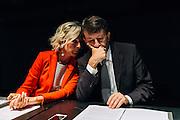 Giovanna Melandri e Dario Franceschini durante la presentazione della collaborazione dell'Auditorium Maxxi con Enel,  delle prossime mostre ed iniziative per la XI Giornata del Contemporaneo, Roma 6 Ottobre 2015.  Christian Mantuano / OneShot