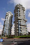 Modern high rise buildings on Pinkas street in Tel Aviv, Israel