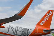 Detail of EasyJets Airbus A321 NEO at the Farnborough Airshow, on 18th July 2018, in Farnborough, England.