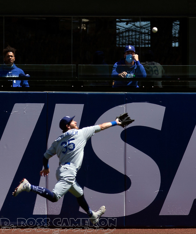 Los Angeles Dodgers center fielder Cody Bellinger (35) runs down a long drive off the bat of San Francisco Giants' Wilmer Flores during the first inning of a baseball game on Thursday, Aug. 27, 2020 in San Francisco, Calif. (D. Ross Cameron/SF Chronicle)