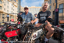 Joseph Gimpel Jr of Florida on his 1913 Thor next to Doug Feinsod of California on his 1913 Thor on the Atlantic City boardwalk at the start of the Motorcycle Cannonball Race of the Century. Stage-1 from Atlantic City, NJ to York, PA. USA. Saturday September 10, 2016. Photography ©2016 Michael Lichter.