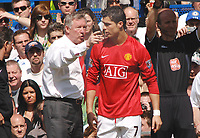 Cristiano Ronaldo (United) gets instructions from Manager Alex Ferguson. Chelsea v Manchester United Premier League  26/4/2008 Credit : Colorsport / Andrew Cowie