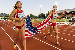 womens 3000 meters, Mary Cain, USA, wins, celebrates with Jenks